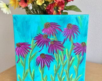 Purple Flower Painting - Echinacea Flower Painting - 10 x 10 Canvas Wall Hanging - Canvas Art - A Great Gift For Her - Floral Wall Hanging