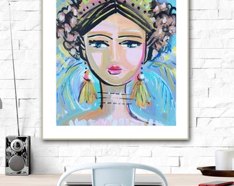 Warrior Girl Print woman art impressionist modern abstract girl paper or canvas Gabby