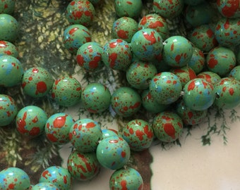 24 Vintage Beads 8mm Japanese Hard Plastic Splatter Beads