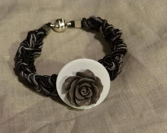 Cotton bracelet melange with mother of Pearl shell buttons and crochet rose Central resin hand made