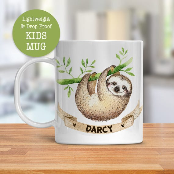 Kids Mug - Personalized Mug - Sloth Mug - Dishwasher Safe - Lightweight Drop Proof Cup for Kids - Plastic Mug for Kid