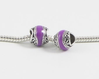 3 Beads - Purple Enamel Scroll Silver European Bead Charm E0616