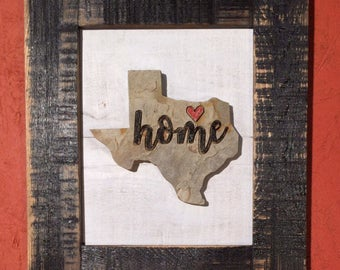 Texas Home Stone & Shiplap Wood Sign