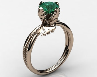 Swan 14K Rose Gold 1.0 Ct Emerald Fairy Engagement Ring R1029-14KRGEM