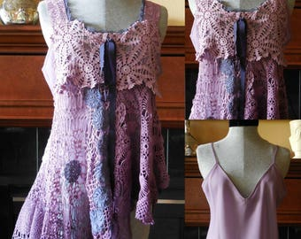 Vintage hand made doily top tunic repurposed doilies bohemian hand crocheted doilies lavender purple violet size small-med