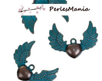 2 pendants heart with Wing patina old metal color Bronze (S1184163)