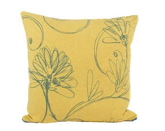 Gold and Blue Abstract Floral Pillow