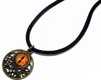 Eye Pendant Glass Dragon Eye Jewelry Orange Dragon Eye Antiqued Brass Filigree Pendant with Necklace