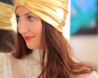 Turban Headband in Gold Metallic - Women's Fashion Head Wrap - Sparkly Turbans