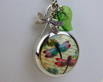 "New Antique Style Dragonfly Pocket Watch Necklace, Engravable, Dragonfly charm, Leaf charms, 20-30"" Silver Plated Chain"