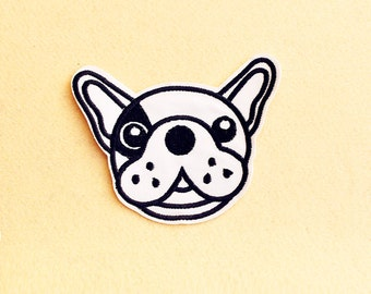 French Bulldog Patch - Dog Patch - Iron on patch -Sew On patch - Embroidered Patch (Size 11cm x 9.5cm)
