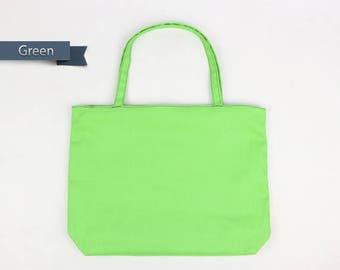 Green Tote bag,canvas tote bag,Zipper Tote Bag,mom tote bag,gift