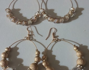 Beautiful Gold and Glass High Shine Statement Hoop Earring's