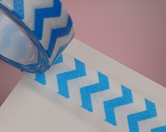 Blue & White Zig Zag Washi Tape/ Decorative Tape for  scrapbooking, Tags, party supplies, card making, paper craft,