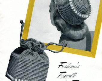 1950's Boho Chic Crocheted Fez & Drawstring Box Purse PDF Pattern Instant Download