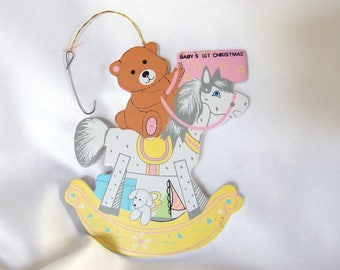 Baby's First Christmas, Pastel Painted Wood Christmas Ornament, Girl Rocking Horse