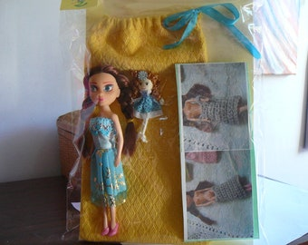 2/small doll with her wardrobe dress and Ribbon bag