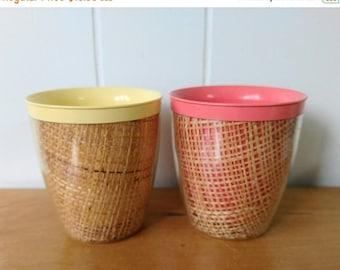 MEMORIAL DAY SALE 2 vintage raffia straw weave tumbler cups