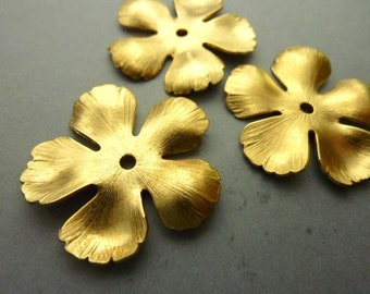 2 Brass Flower Stampings Base - Thick Brass (Small)