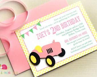 Pink Tractor Invitations · A6 FLAT · Pink and Yellow · Birthday Party | Vintage Farm | Petting Zoo | Gingham