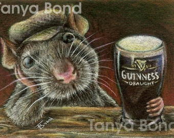 Paddy the rat drinking Guinness in a quiet pub - 5x7 print of an original drawing by Tanya Bond