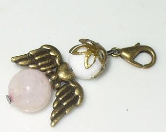 1 pendant angel Rose Quartz, jade, 4 cm