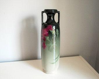 Weller Pottery Vase, Eocean Carnation Vase, Antique Art Pottery, Green Gray Ombre, Fine Art Ceramics, Arts and Crafts, Long Stem Flowers
