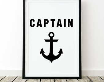 Captain, print wall art poster quote home decor inspirational black white fashion minimalist bedroom motivation modern Scandinavian bathroom