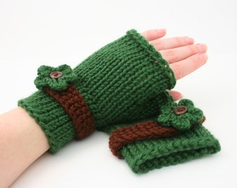 PDF DIGITAL PATTERN:Easy Knit Fingerless Gloves Pattern,Knit Gloves Pattern,Knit Flower Pattern,Fingerless Mitts,Fingerless Glove Pattern