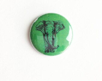 "Elephant Illustration Button -  Pin - Bees - 1"" Pin Back Button - Collectible -  Button - Elephant Button -  Honey Bee Button"