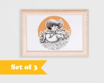 Postcard SET of 3, Girl with fox, children illustration, art for kids