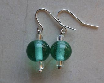 Light turquoise green glass beaded earrings