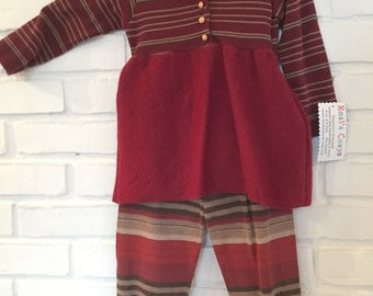 Toddler sweater dress with leggings, upcycled, rust striped, merino wool, vintage buttons, baby girl dress, leggings, striped cap, pom pom