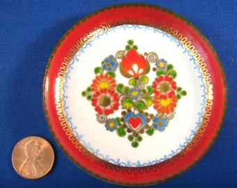 Steinboch Email Red Enamel On Copper Trinket Dish Ring Holder Retro 1960s Mid Century Modern Art