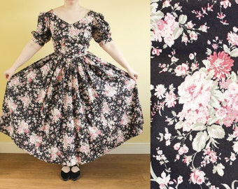 80s Vintage Laura Ashley Dress • Black Floral Cotton Dress • 50s Style Dress • Festive Dress • Midi Regency Romantic Dress • Evening Gown. S