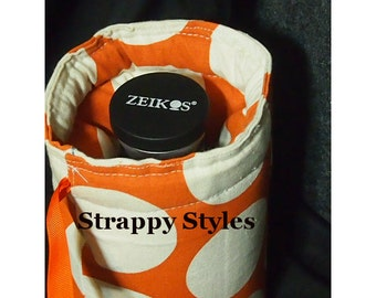 DSLR camera lens pouch Camera lens bag Padded lens cozy Canon Nikon Olympus Sony Strappy Styles Custom Drawstring lens pouch Water resistant