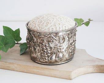 Vintage Silverplate Repousse Pincushion with Vintage Linen, Romantic Sewing Decor