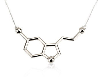 Serotonin  Necklace - Molecule Necklace - Chemistry Necklace  -  Silver Serotonin Necklace  -  Science Necklace   - Gift for Her