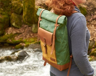 Waxed canvas backpack. Light  green canvas brown leather backpack/rucksack. Waxed  canvas bag. Canvas leather backpack. Hipster backpack