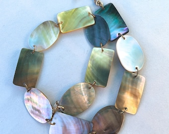 Vintage Polished Abalone Necklace Mother of Pearl Panels