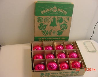 12 Vintage Pink Shiny Brite Mercury Glass Christmas Tree Ornaments In Original Box  17 - 696