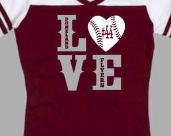 Ladies Duneland Flyers Baseball Spirit Wear T-Shirt LOVE