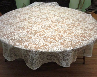 Oblong Tablecloth, Lace Tablecloth, Vintage Lace, Wedding Linens, Lace Tablecloths, Oblong Tablecloths, 100X64, Banquet Tablecloth