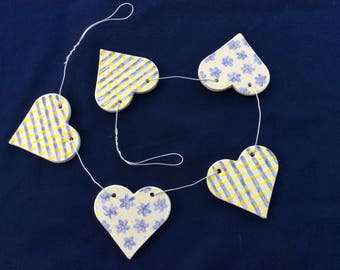 Hand made Ceramic Heart Bunting in Blue and Yellow
