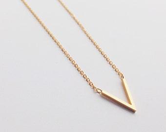 Gold V Necklace, V shaped, choker, simple necklace, layer necklace, minimalist necklace, jewelry, minimalist jewelry, cute necklace, modern