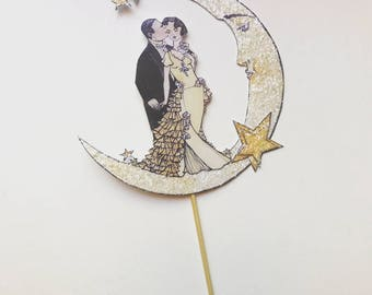 Wedding Cake Topper, Celestial, Moon and Stars, Bride And Groom, Unique Cake Topper, Art Deco