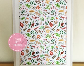 Vibrant Patterned Autumn/Fall Leaves Fine Art Print (Available in A4/A5)