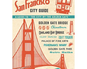 Vintage San Francisco City Guide Wrapping Paper by Cavallini to Frame or Gift Wrapping, Decoupage, Collage, Scrapbook, Paper Arts PSS 3357