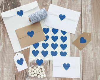 "Sticker Seals, Snorkel Blue, 1.5"" Heart Stickers, Treat bags, Wedding favors, Packaging seals, Envelope Seals, DIY craft, 20 stickers"