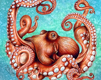 Kraken Octopus Art Canvas Print. Original 12 x 12 sea creature illustration, steampunk inspired wall décor for home, boat or nautical theme.